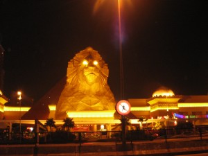 Scenic view of Sunway Pyramid at night