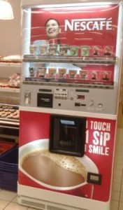 Getting a cheap cup of coffee at shopping malls