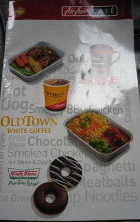 Air Asia in flight food menu