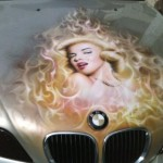 Beautifully painted picture on Marilyn Monroe on a BMW
