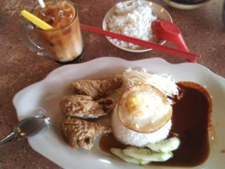 Crispy chicken rice, 3 layer tea and bak kut teh