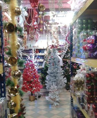 Shopping for Christmas trees and decos