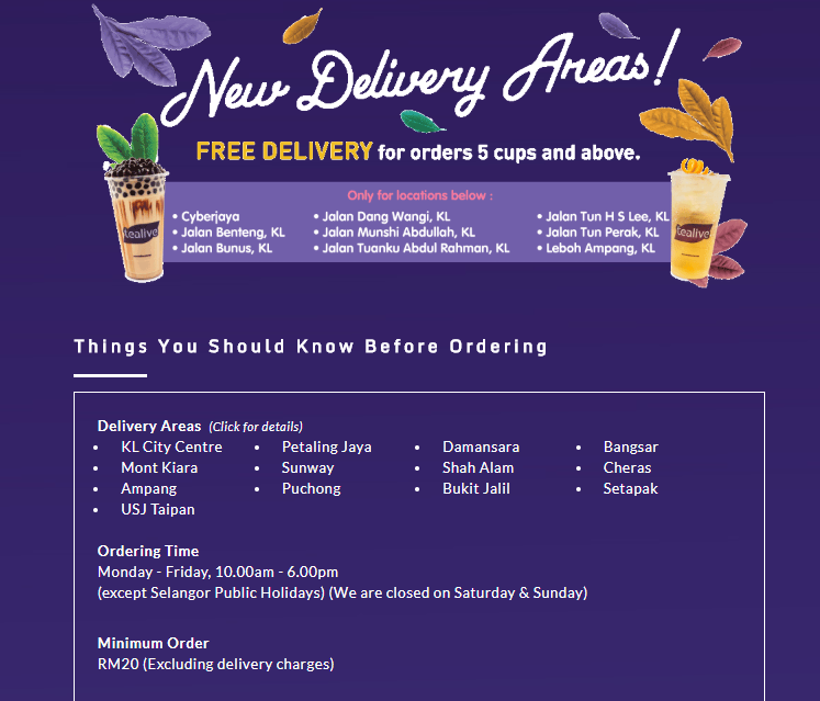 Tealive Deliver to doorstep at selected areas