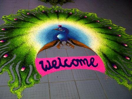 Beautiful Peacock Rangoli or Kolam Design - Visit Malaysia
