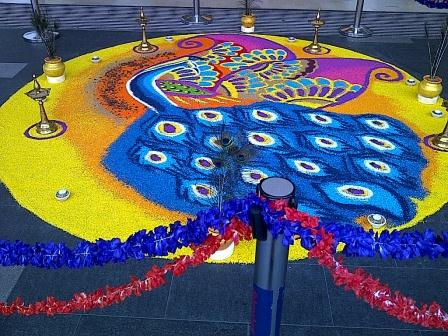 Happy Deepavali- Beautiful Peacock Rangoli and Peacock