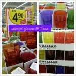 Colourful glass cups sold at Tesco