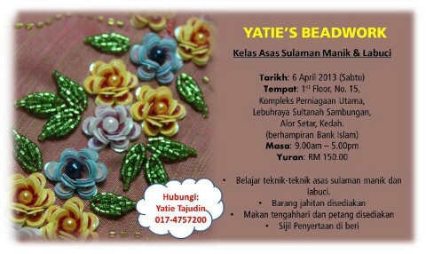 Beading and sequin embroidery classes in Kuala Lumpur and Alor Setar