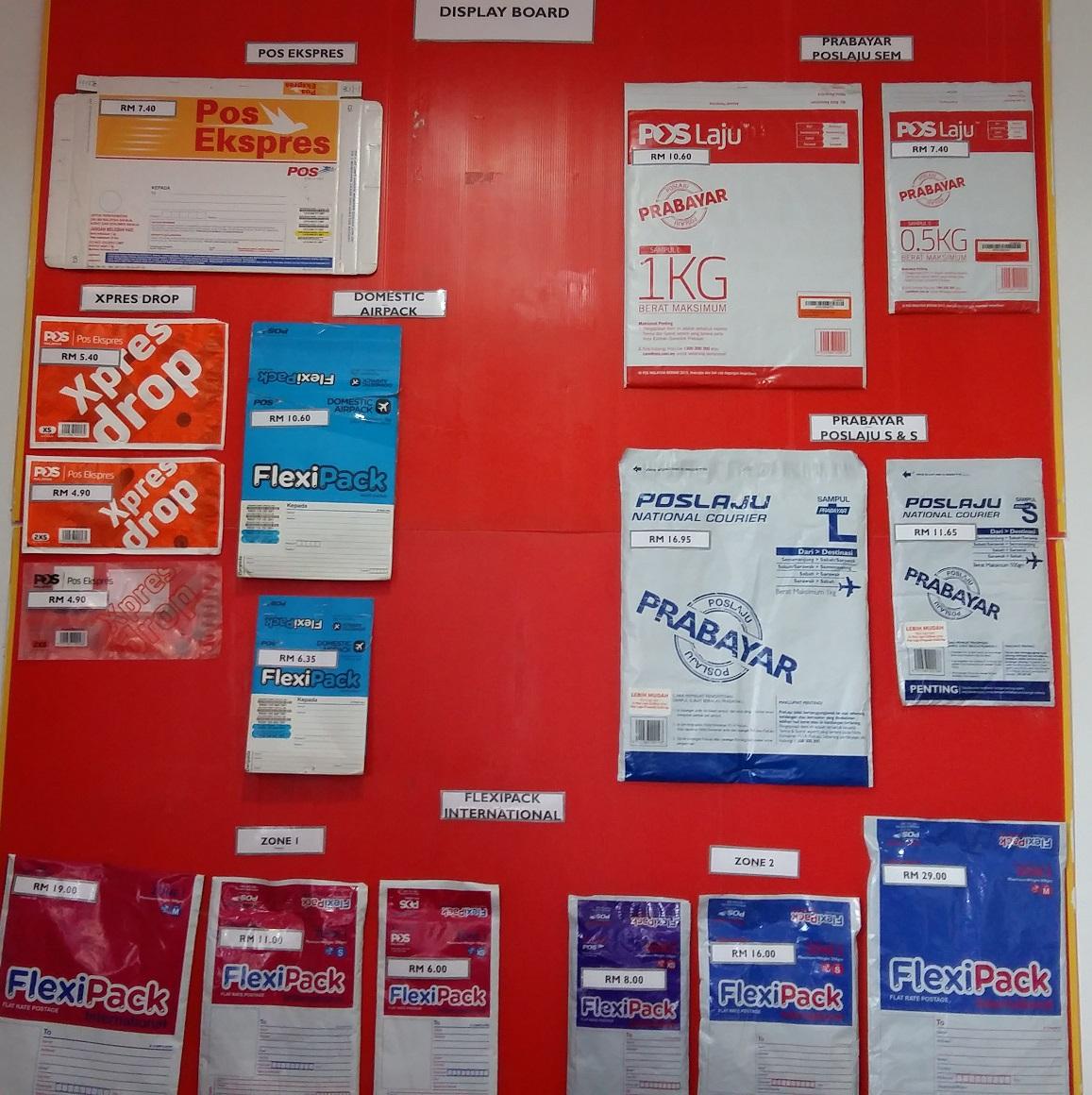Poslaju Pos Express and FlexiPack envelopes