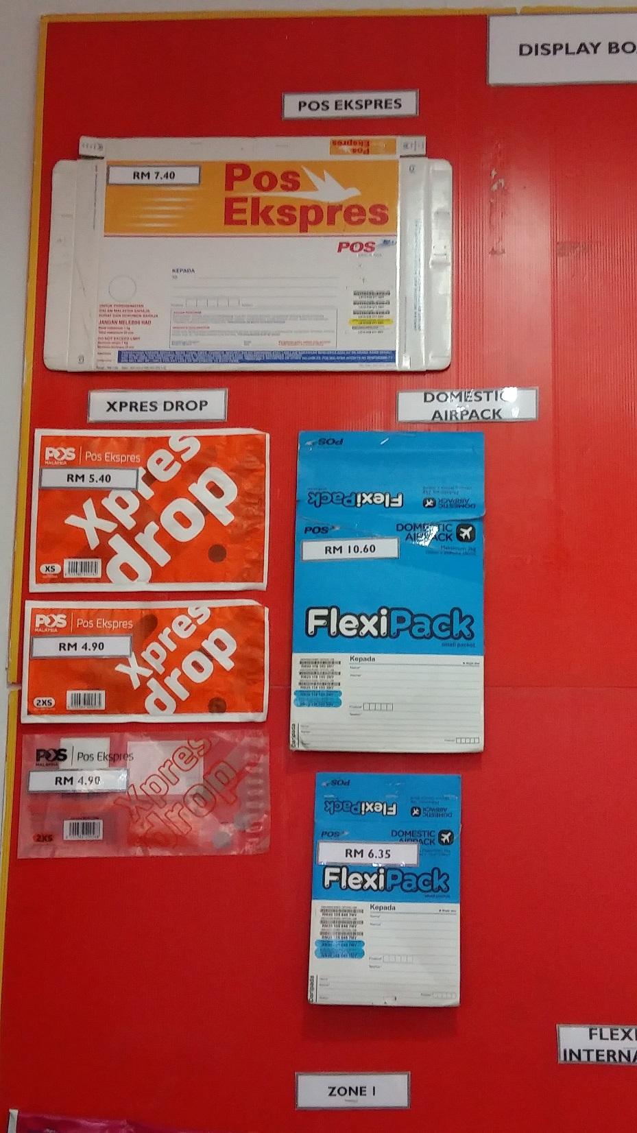 Poslaju Flsxi pack and express drop envelopes