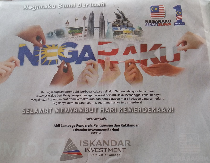 Merdeka message from Iskandar Investment