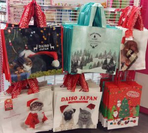 Christmas decoration sold at Daiso- Christmas recycle bags