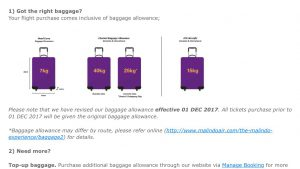 Malindo Air new baggage allowance eff 1 Dec 17