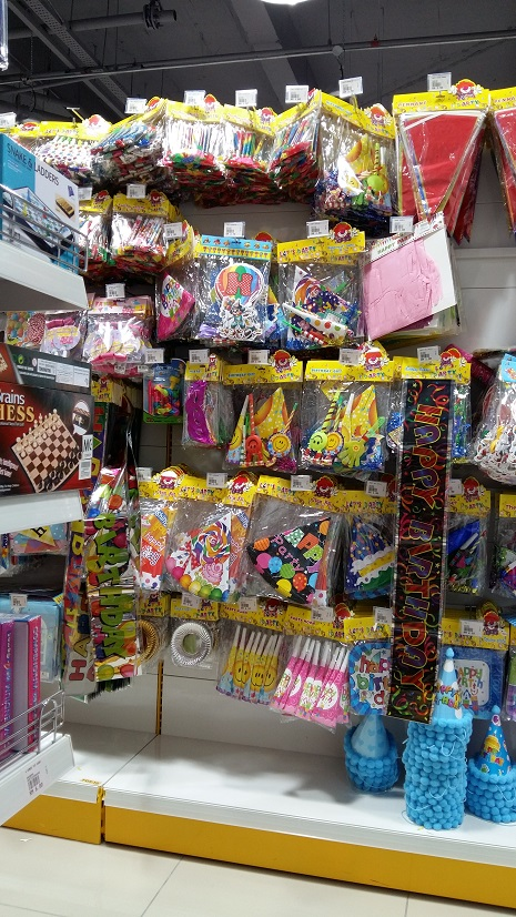 where to buy party supplies like ballons, candles, plates & children