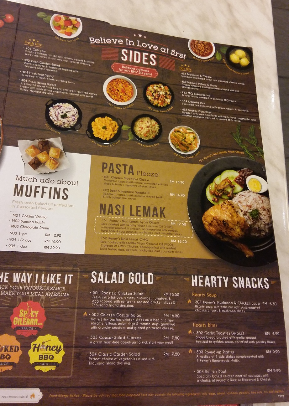 Kenny Rogers Roasters Food menu in Malaysia - Visit Malaysia