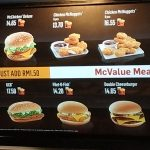 McDonalds Menu in KLIA airport