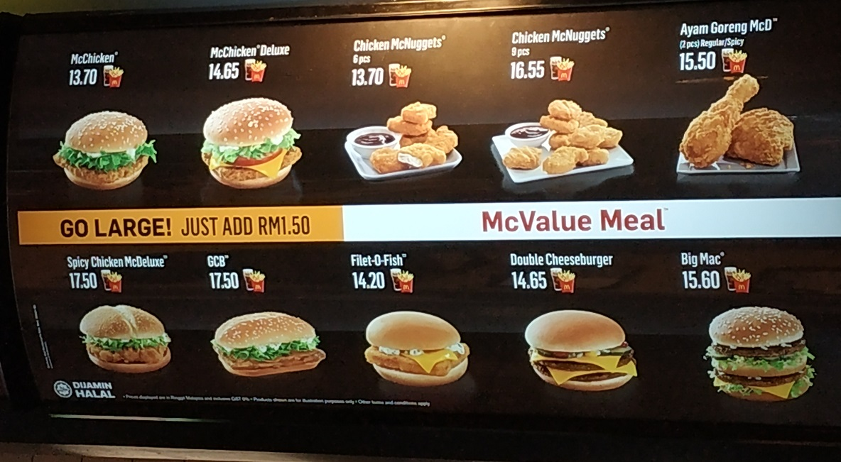 McDonalds Menu in KLIA