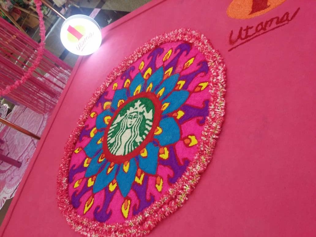 Starbucks rangoli at One Utama