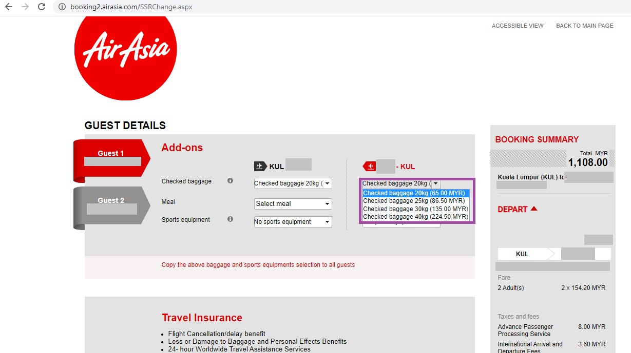 Air Asia - add luggage kilo after booking
